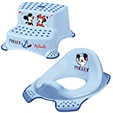 Keeeper 2-teiliges Set MICKEY MOUSE Schemel zweistufig & WC-Sitz/Toilettensitz light blue