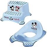 Micky Maus Kinder Toilettensitz in Blau mit WC-Hocker zweistufig