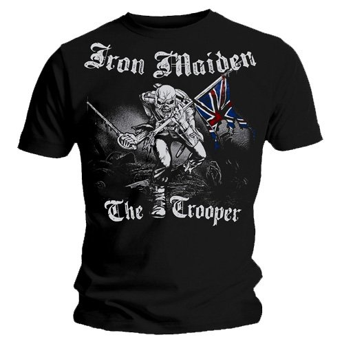 Ripleys Clothing - Maglietta ufficiale Iron Maiden Sketched Trooper, vintage, disponibile in tutte le taglie Black X-Large