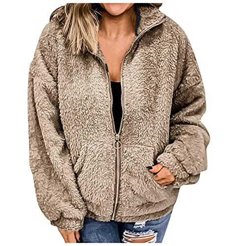 Casual Ladies Long-Sleeved Blouse Double-Sided Fleece Jacket With Pocket Sweater Winter Casual Warm Jacket Simple Style Khaki