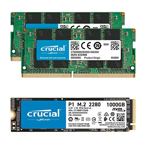 Crucial 32GB (2x16GB) DDR4 2666MHz SODIMM Memory Bundle with P1 1TB 3D NAND NVMe PCIe SSD Compatible with OptiPlex MFF 3050, 3060, 3070, 5050, 5060, 5070, 7050, 7060, 7070