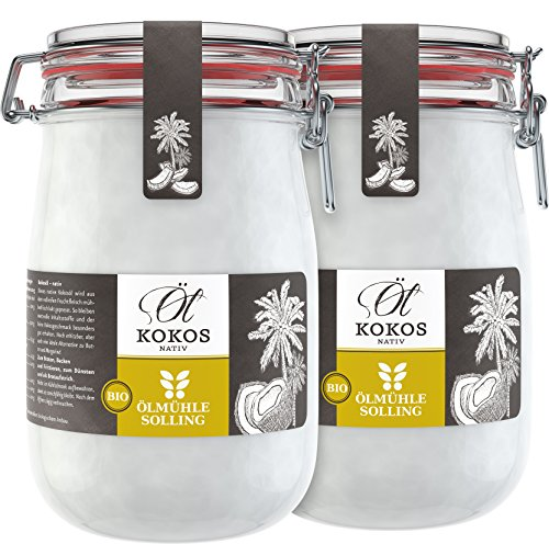 Ölmühle Solling Bio Kokosöl im Bügel-Glas, 2er-Pack (2x1000ml)