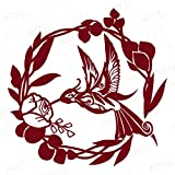NBFU DECALS Humming Bird Floral Mandala Zentangle 1 (Burgundy) (Set Of 2) Premium Waterproof Vinyl Decal Stickers For Laptop Phone Accessory Helmet Car Window Bumper Mug Tuber Cup Door Wall Decoration