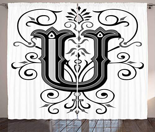 ABAKUHAUS Buchstabe U Rustikaler Gardine, Viktorianischer Rokoko-Stil, Schlafzimmer Kräuselband...