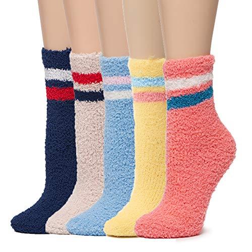 Leotruny 5 Pairs Womens Soft Warm Winter Cozy Fuzzy Socks