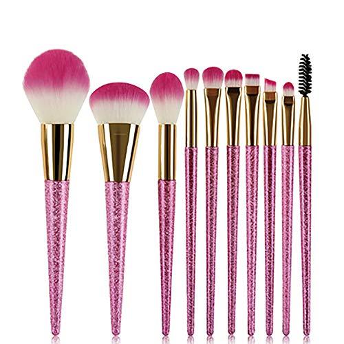 Pinceau De Maquillage Set 10 Pcs Maquillage Violet Pinceau Brosse Maquillage Fond Rose Pointu Outil Beauté Maquillage Brosse Maquillage Sable Mouvant Jeu,Rose
