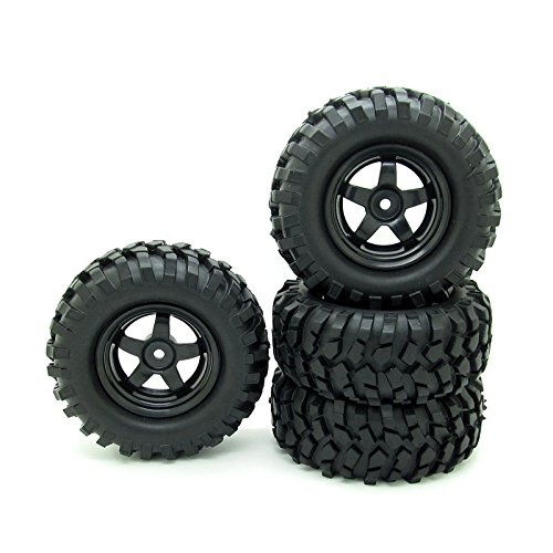 RC 1:10 Buggy Rubber Tires 5 Spoke Wheel Rim for RC HSP 1/10 Off-Road Pack...