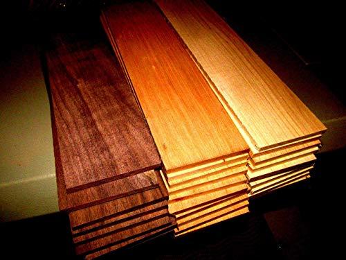 "(Woodworking Lumber) MULTIPAK (27) KILN Dried Sanded Thin Walnut, Cherry, Hickory 12"" X 3"" X 1/8"""