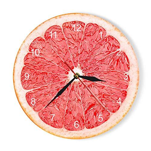 TOLYZ - Reloj de Pared con diseño de limón y Frutas, Color Amarillo, Rojo