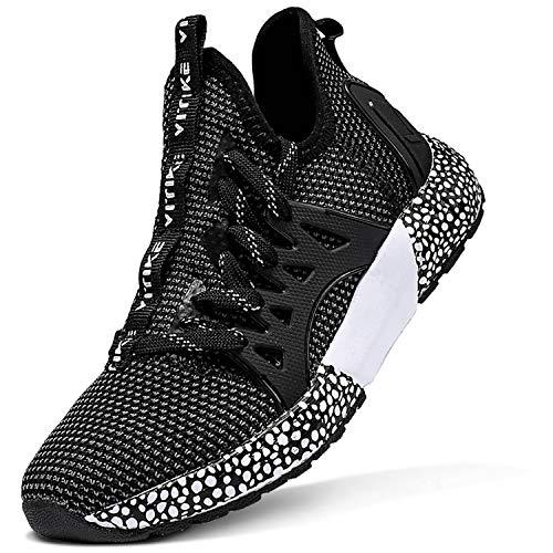Scarpe Sportive Bambini e Ragazzi Scarpe da Corsa Ginnastica Respirabile Mesh Running Sneakers Fitness Casual(G-Nero,38 EU)