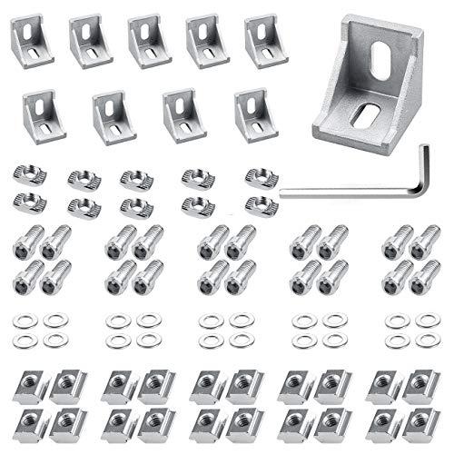 Équerre d'angle 30 x 30 mm - 20 x angles en aluminium pour profilés en aluminium / tubes en aluminium (argent)