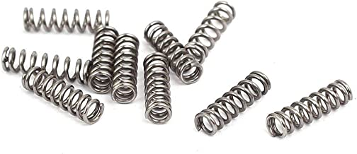0.5mmx3mmx10mm 304 Stainless Steel Compression Springs Silver Tone 10pcs