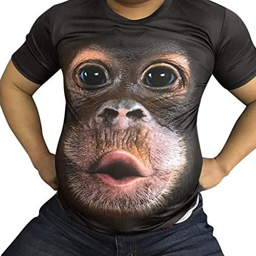 Camisetas Hombre Originales 3D SHOBDW 2019 Cuello Redondo Tallas Grandes Verano Camisetas Hombre Manga Corta Estampado de Orangután Blusa Tops S-3XL(Café,S)
