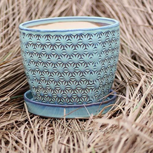 15cm Blue Vintage Ceramic Indoor Plant Flower Pot with saucer