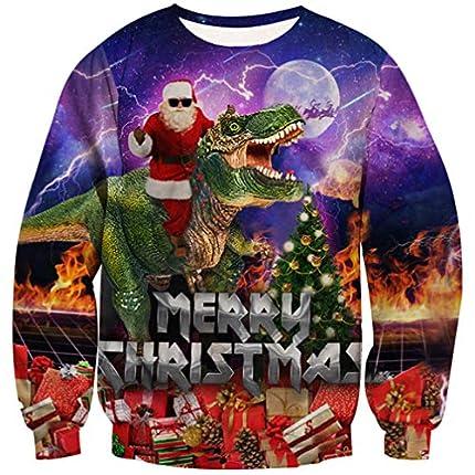 Goodstoworld Jersey Navidad Mujer Hombre Pareja 3D Christmas Sweater Ropa Dinosaurios Divertida Elfo Jerseys Traje Navideño M