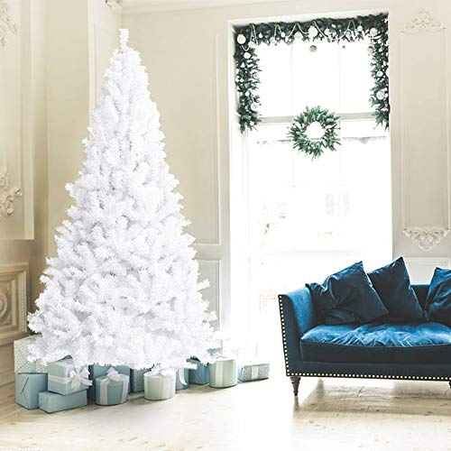 La fete 7 FT Unlit White Artificial Christmas Tree, Premium Pine Xmas Tree with Metal Stand Easy Assembly, Perfect for Indoor Holiday Decoration (White, 7 FT)