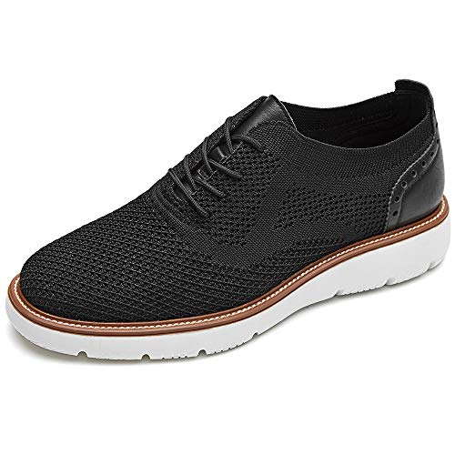 LAOKS Mens Mesh Sneakers, Lightweight Breathable Walking Shoes, Stitchlite Oxford, Black, 10.5 US