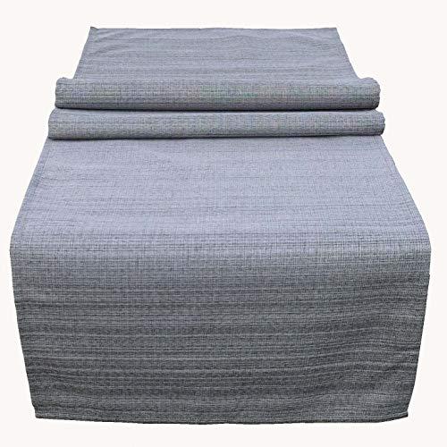 Kamaca Obrus na stół ogrodowy – idealny obrus tekstylny do wewnątrz i na zewnątrz, odporny na plamy, odporny na warunki atmosferyczne, nie gniecie się (szary – melanż, bieżnik na stół 40 x 140 cm)