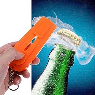 シンプルライフ、ライフアシスタント ボトルオープナーランチャービールボトルオープナーシューティングフライングキーチェーンリング(ホワイト) (色 : オレンジ)