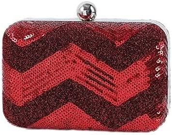 Women's Evening Handbags Women's Portable Mini Sequined Bag Party Evening Bag Props Bag Clutch Bag Messenger Small Bag (Color : Red)