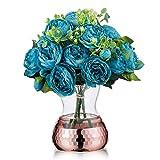 Florero decorativo de cristal para arreglos florales con decoración de panal dorada, bodas, decoración del hogar u oficina, Rose gold, 1#, 1