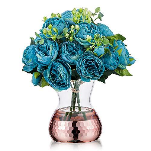 Jarrón decorativo de cristal con panal de abeja dorada, estilo rústico, arreglos florales artificiales para bodas, decoración del hogar u oficina, 4#