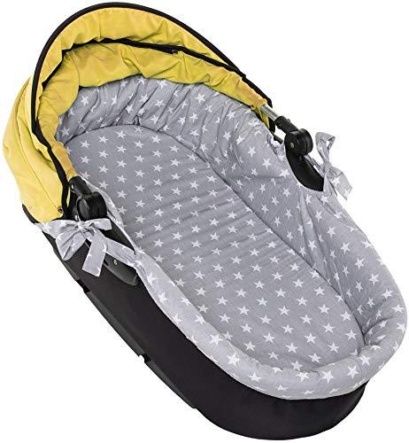 Nestchen für Kinderwagen Kinderwageneinlage Babywanne Stubenwagen + Matratze SET (Weißer Stern auf Grau)