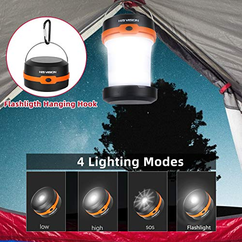 HISVISION Solar Powered LED Camping Lantern, Collapsible Design Solar or USB, Chargeable Emergency...