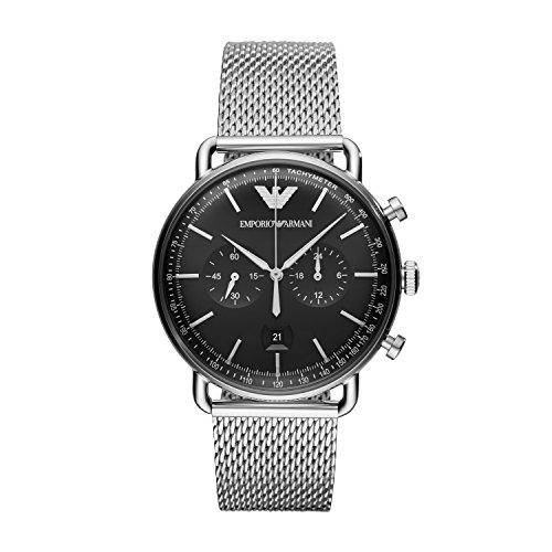 Emporio Armani Herren Chronograph Quarz Uhr mit Edelstahl Armband AR11104
