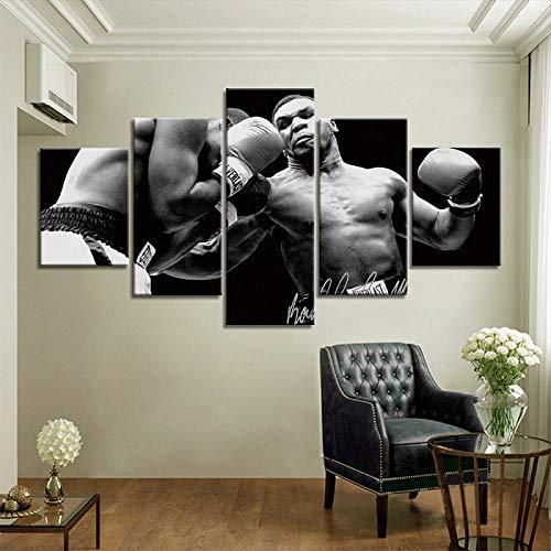 XXXCH Cuadro Sobre Lienzo - 5 Piezas - Impresión En Lienzo - Jugador De Combate De Boxeo Cuadro De Pintura Póster De Arte Moderno Oficina Sala De Estar O Dormitorio Decoración Del Hogar Arte 200X100CM