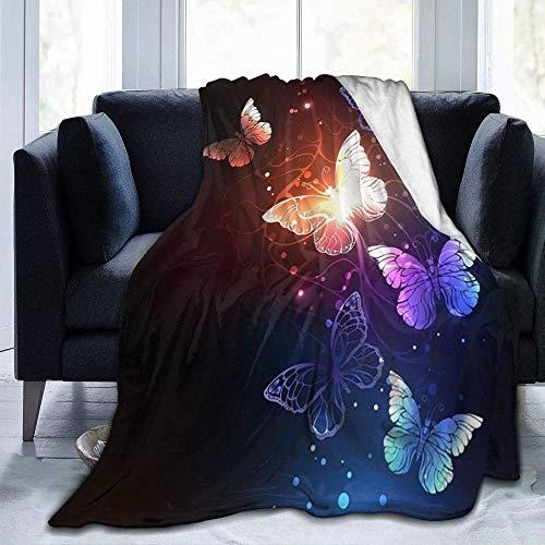 Wnyun Mantas para Sofa Cama 130 X 150 cm Plaid Sofa Franela Manta Polar,3D Impresión Mariposa De Fantasía Negra Colchas Plaid para Cama Polar Suave Transpirable Acogedora y CáLida
