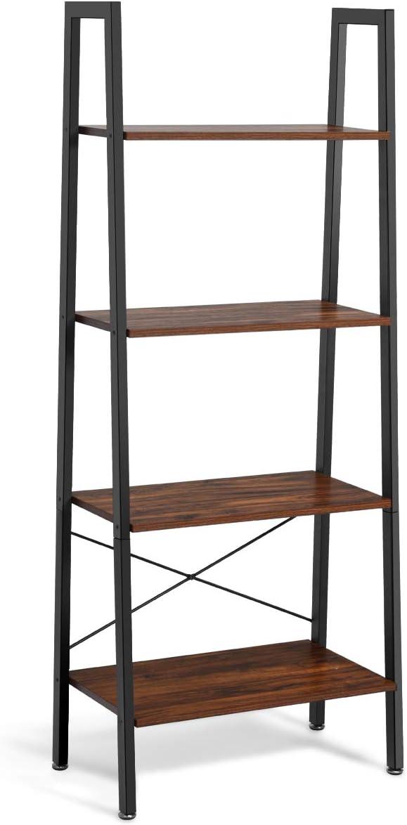 Giantex Ladder Shelf 4-Tier Industrial Sh Austin Mall Storage Rack service Bookshelf