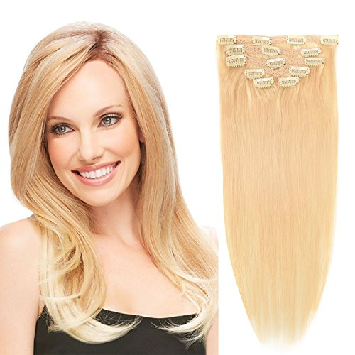 20'Clip in Hair Extensions Real Human Hair Double Weft Thick to Ends Bleach Blonde(#613)...
