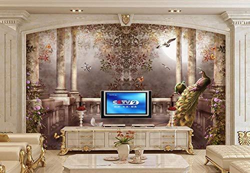 Wand mit 3D-Tapete Pfau Wandmalerei Rokoko-Stil Tapete Schlafzimmer Innenraum TV Hintergrund...