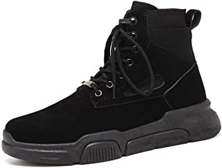SHENTIANWEI Combat Boots for Men High Top Boot Lace Up Style Suede Vamp Matte Fleece Inside Round Toe Stitched Anti Slip Flat Metal Decor (Color : Black, Size : 6 UK)
