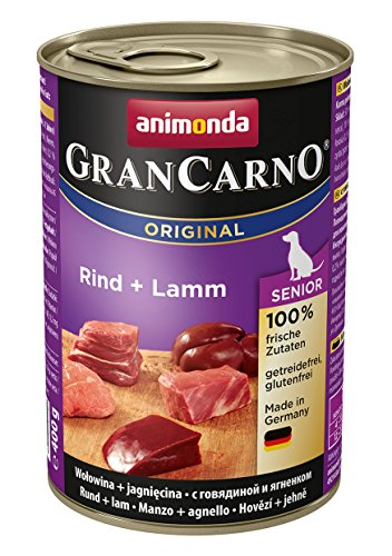 animonda GranCarno Hundefutter Senior, Nassfutter für ältere Hunde ab 7 Jahren, Rind + Lamm, 6 x 400 g