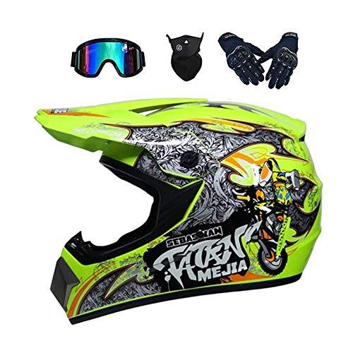 ZHUOYU MX-Helm,Motocross Helm,Downhill Enduro Helm Integralhelm,Fullface Helm,Kinder und Erwachsene Motocross Helmset,MTB Helm,ATV Helm,DOT Zertifizierung,Brille/Handschuhen/Maske (A,S (52-53 cm))
