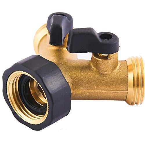 Riemex Metal Garden Hose Splitter 2 Way Y Valve Hose Connector, Easy to Open, Comfort Grip, Solid Brass Body