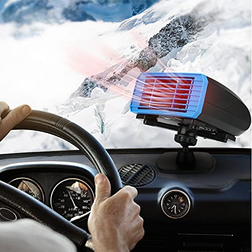 12V Portable Car Heater Car Defroste Automobile Windscreen Fan 150W 12V Windshield Fast Heating & Cooling Fan Cars Defogger Plug in Cigarette Lighter with Base,1 Pack,Blue