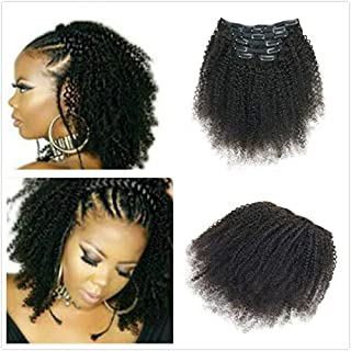 AfroKinky Curly Clip In Human Hair Extensions 8AGrade4B4CTight Curl Double Wefts Human Hair Ins Weave Remy Hair Natural Black Full Head 7Pcs/Set 100G For African American Black Woman (10INCH/25CM)