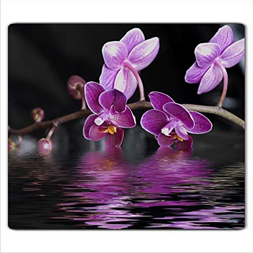 Gsmarkt | Herdabdeckplatte Schneidebrett Spritzschutz 60x52 | Bild auf Glas | Sicherheitsglas Gehärtetes Glas Bild | Motiv Orchidee