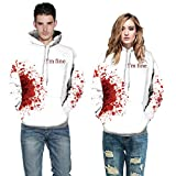 Auwer Halloween Hoodies All Souls Day 3D Funny Print Jumper Sweaters Couple Punk Skull Top Streetwear