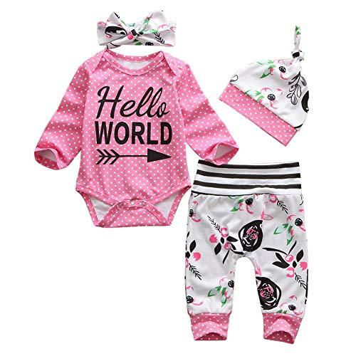 Geagodelia 3tlg Babykleidung Set Baby Mädchen Langarm Strampler Body + Lang Hose Legging Sommer Kleidung 6 Monate Neugeborene Outfits Mütze Hello World (Pink Strampler + Hose, 0-3 Monate)