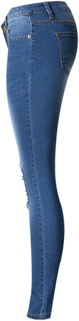 Femmes Denim Pantalon Trous Détruit Au Genou Crayon Taille Basse Jeans Skinny Jeans Déchirés pour Les Femmes Blue
