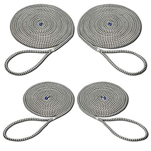 SEILFLECHTER - Set mit 4 Festmacher Taifun®   Anlegeleinen mit gespleißten und getakelten 40 cm Augen in weiß/schwarz, Ø 12 mm, 2 x 10 m & 2 x 6 m