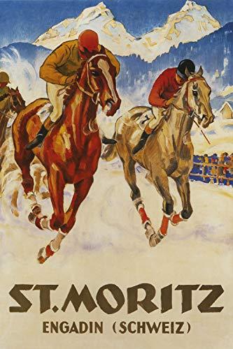 St. Mortiz - Engadin (Schweiz) - Vintage Swiss Travel Poster (24 x 36)