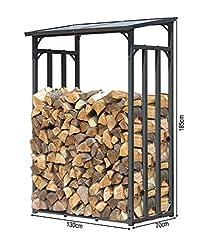 QUICK STAR Metalowa półka kominowa Antracyt 130 x 70 x 185 cm Schron z drewna ogrodowego 1,6 m3 / dobry 2 SRM łożyska drewniane pomoc układania na zewnątrz