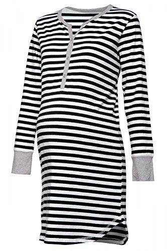 HAPPY MAMA. Damen Umstands Streifen Nachthemd mit Stillfunktion Langarm. 589p (Schwarz, 36-38, S)