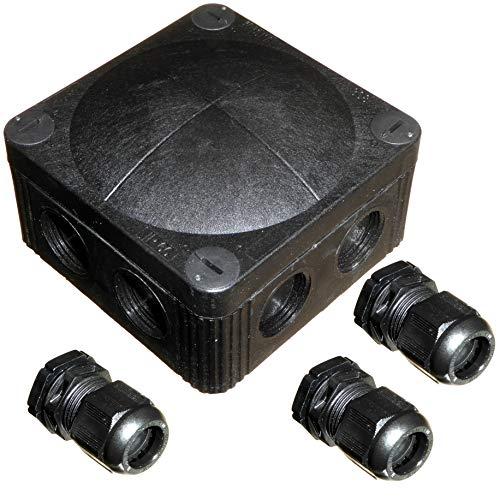 Black Wiska 308/5 Kombi-Abzweigdose mit 3 x GLP20+ IP68 Kabelverschraubungen für den Außenbereich