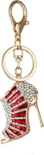 Bullidea Creative Key Chain Women Rhinestone High Heel Keyring Charm Handbag Pendant Keychain with Durable Lobster Clasp